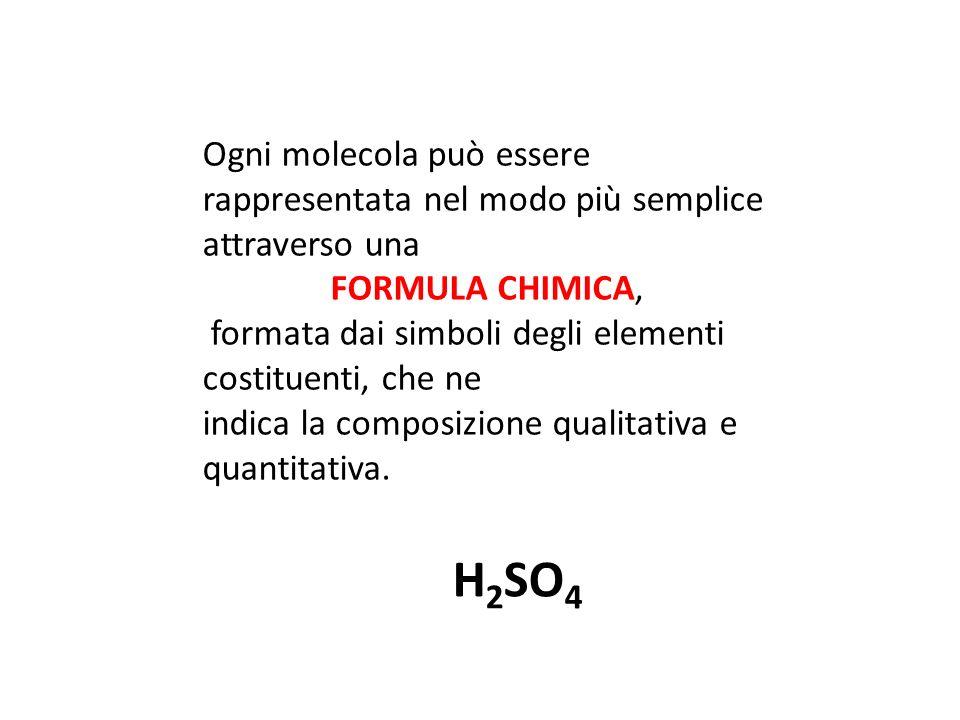 Ogni molecola può essere rappresentata nel modo più semplice attraverso una FORMULA CHIMICA, formata dai simboli degli elementi costituenti, che ne indica la composizione qualitativa e quantitativa.