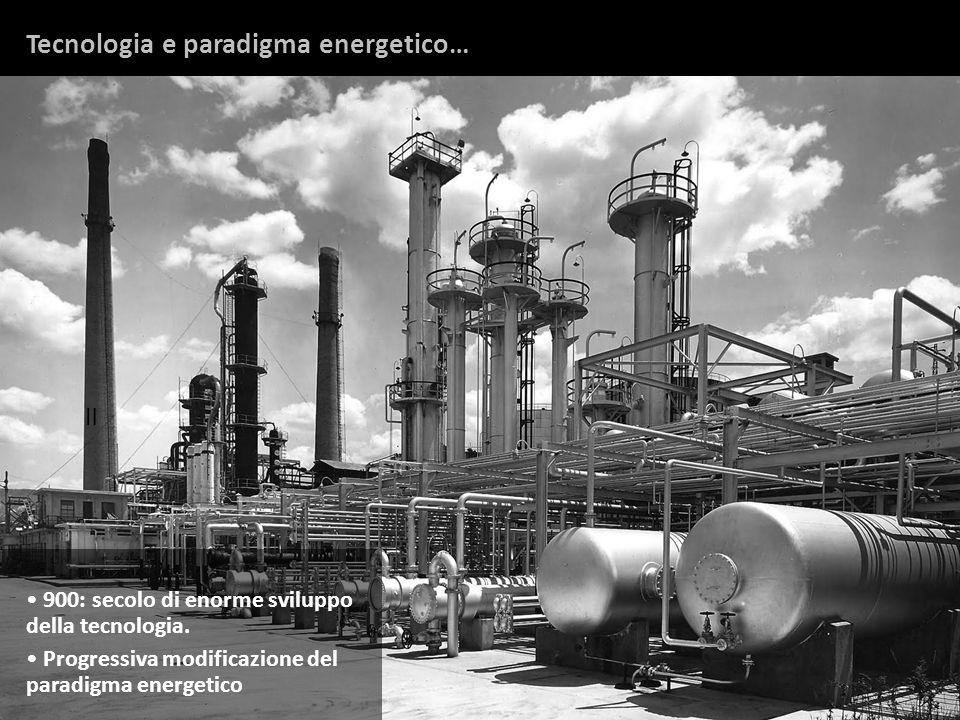 Tecnologia e paradigma energetico… Il 900: secolo di enorme sviluppo della tecnologia. Progressiva modificazione del paradigma energetico