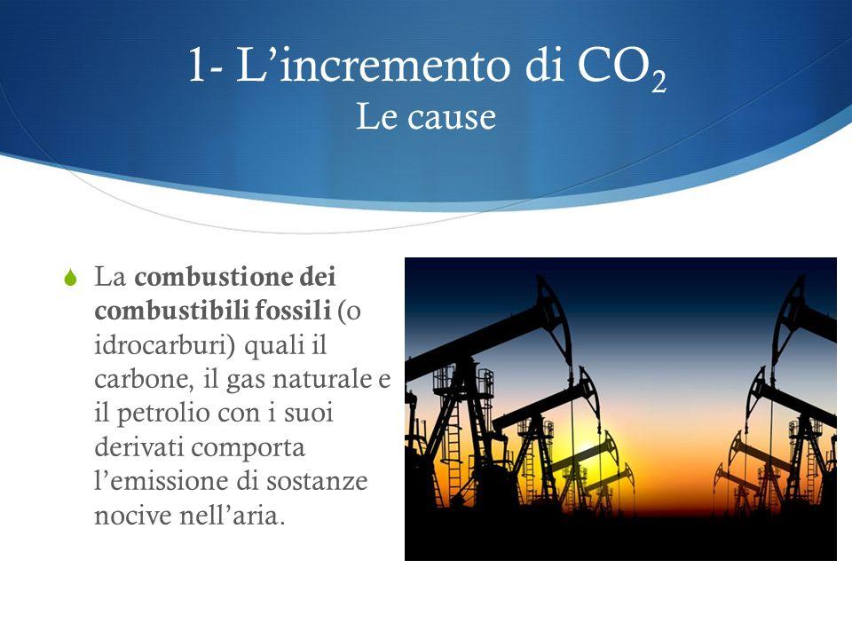 1- Lincremento di CO 2 Le cause Combustione di combustibili fossili Deforestazione Agricoltura e allevamento intensivi Attività industriali
