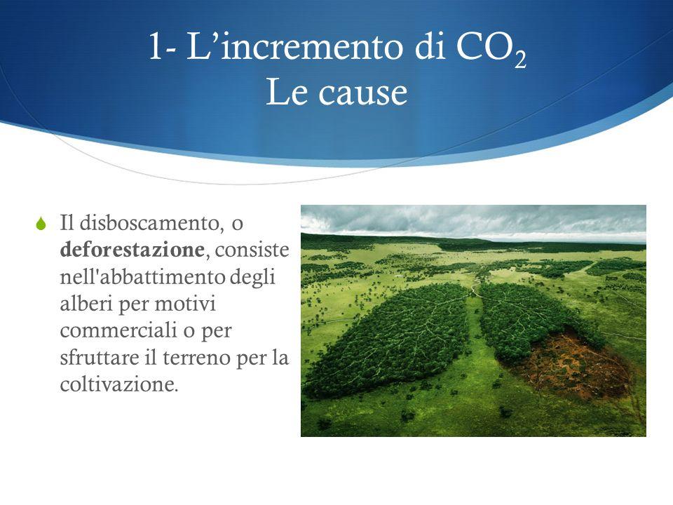 1- Lincremento di CO 2 Le cause La combustione dei combustibili fossili (o idrocarburi) quali il carbone, il gas naturale e il petrolio con i suoi der