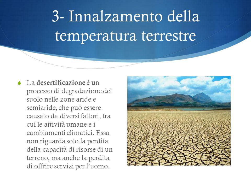 3- Innalzamento della temperatura terrestre Come abbiamo visto, tutti questi fattori determinano lincremento della temperatura terrestre, che a sua vo