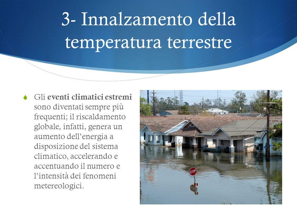 3- Innalzamento della temperatura terrestre I cambiamenti climatici possono rendere impossibile anche la vita agli animali; le condizioni atmosferiche