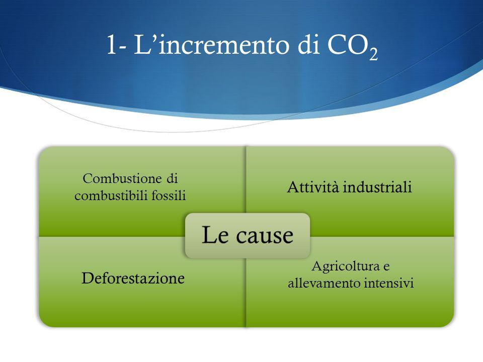 Cosè lAntropocene 1- Incremento CO2 nellatmosfera 2- Allargamento buco dellozono Effetto serra 3- Innalzamento temperatura terrestre