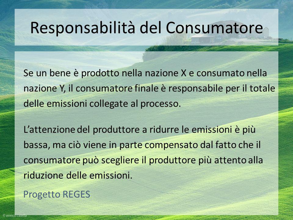 Responsabilità del Consumatore Se un bene è prodotto nella nazione X e consumato nella nazione Y, il consumatore finale è responsabile per il totale d