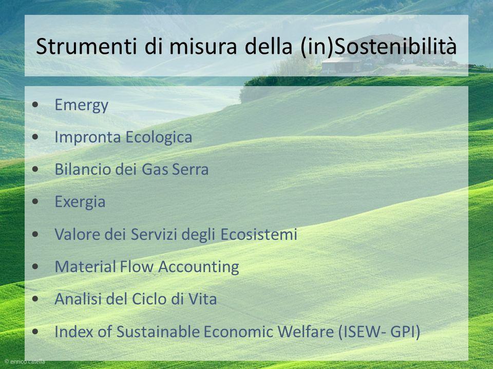 Strumenti di misura della (in)Sostenibilità Emergy Impronta Ecologica Bilancio dei Gas Serra Exergia Valore dei Servizi degli Ecosistemi Material Flow