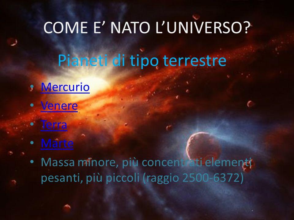 COME E NATO LUNIVERSO? Mercurio Venere Terra Marte Massa minore, più concentrati elementi pesanti, più piccoli (raggio 2500-6372) Pianeti di tipo terr
