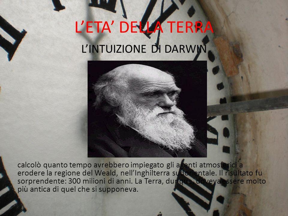 LETA DELLA TERRA Contrastato da Lord Kelvin (che affermava che il sole non potesse avere più di 100 M anni) in parte ritrattò.