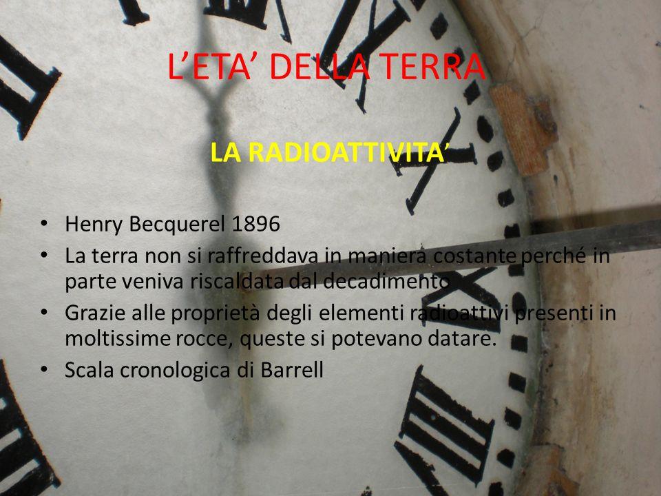 LETA DELLA TERRA LA RADIOATTIVITA Henry Becquerel 1896 La terra non si raffreddava in maniera costante perché in parte veniva riscaldata dal decadimen