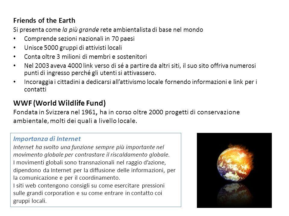 Friends of the Earth Si presenta come la più grande rete ambientalista di base nel mondo Comprende sezioni nazionali in 70 paesi Unisce 5000 gruppi di