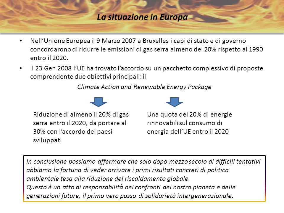 La situazione in Europa NellUnione Europea il 9 Marzo 2007 a Bruxelles i capi di stato e di governo concordarono di ridurre le emissioni di gas serra
