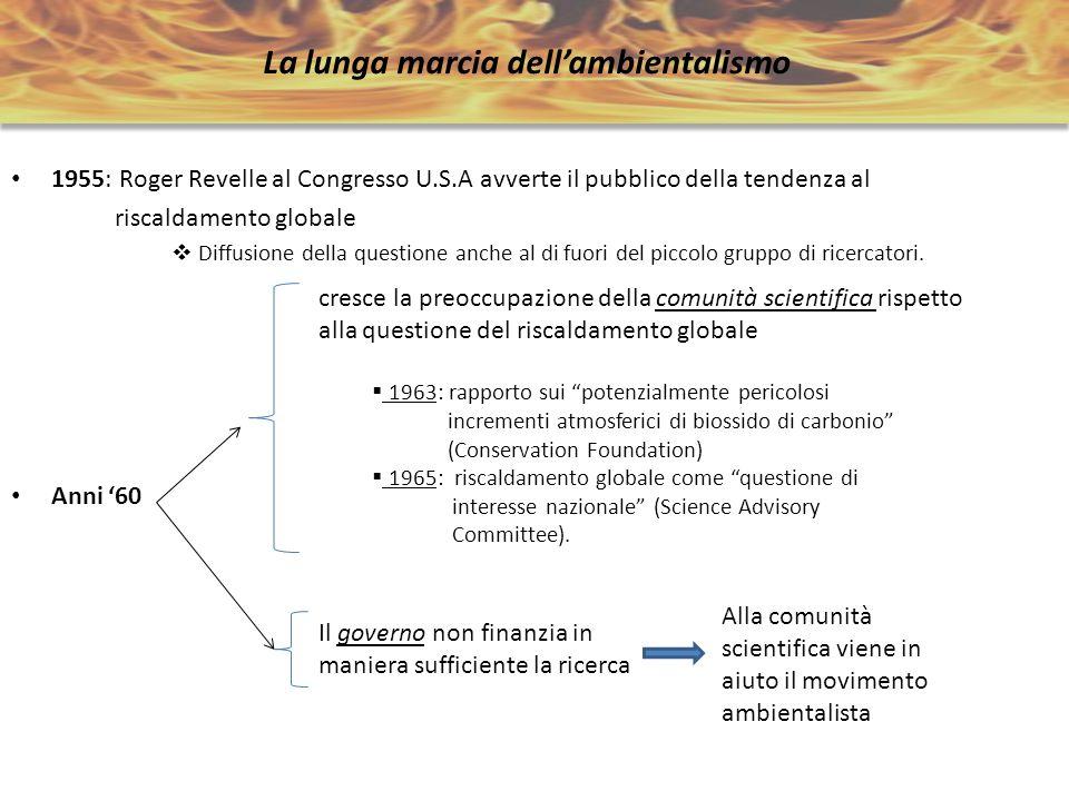 La lunga marcia dellambientalismo 1955: Roger Revelle al Congresso U.S.A avverte il pubblico della tendenza al riscaldamento globale Diffusione della