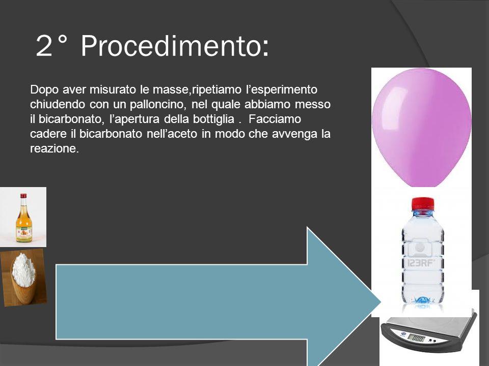 2° Procedimento: Dopo aver misurato le masse,ripetiamo lesperimento chiudendo con un palloncino, nel quale abbiamo messo il bicarbonato, lapertura del