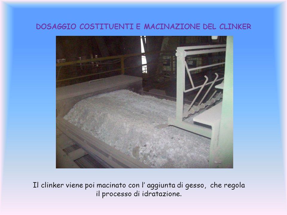DOSAGGIO COSTITUENTI E MACINAZIONE DEL CLINKER Il clinker viene poi macinato con l aggiunta di gesso, che regola il processo di idratazione.