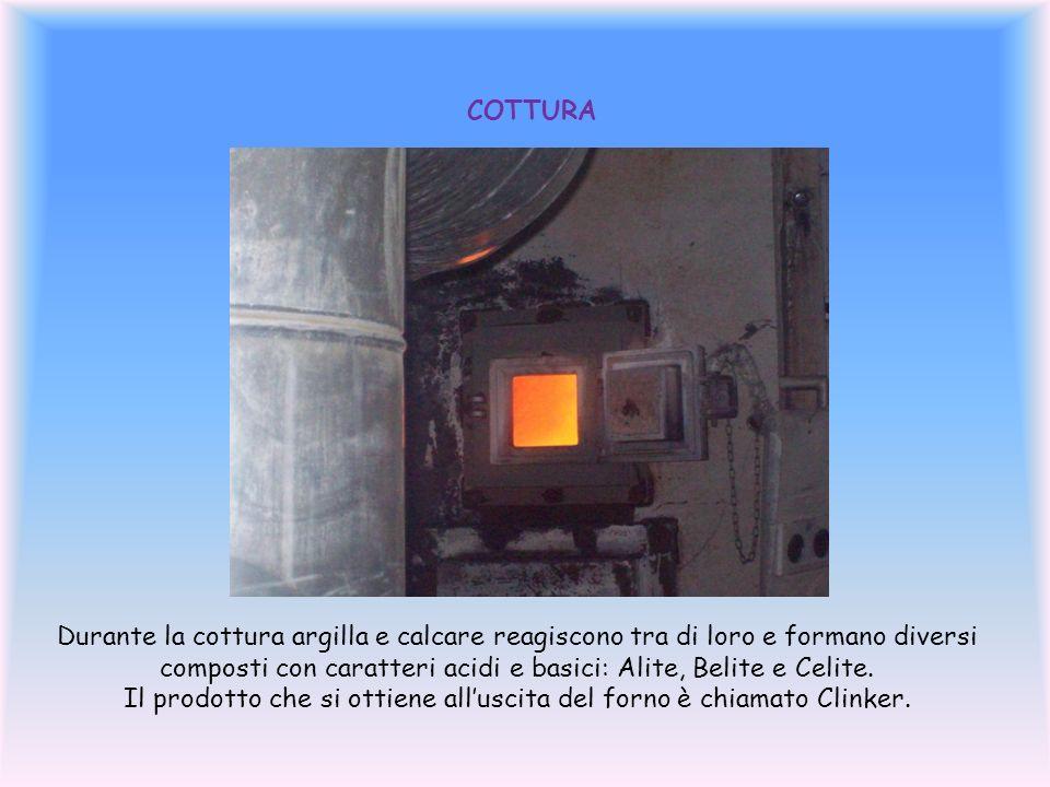 COTTURA Durante la cottura argilla e calcare reagiscono tra di loro e formano diversi composti con caratteri acidi e basici: Alite, Belite e Celite.