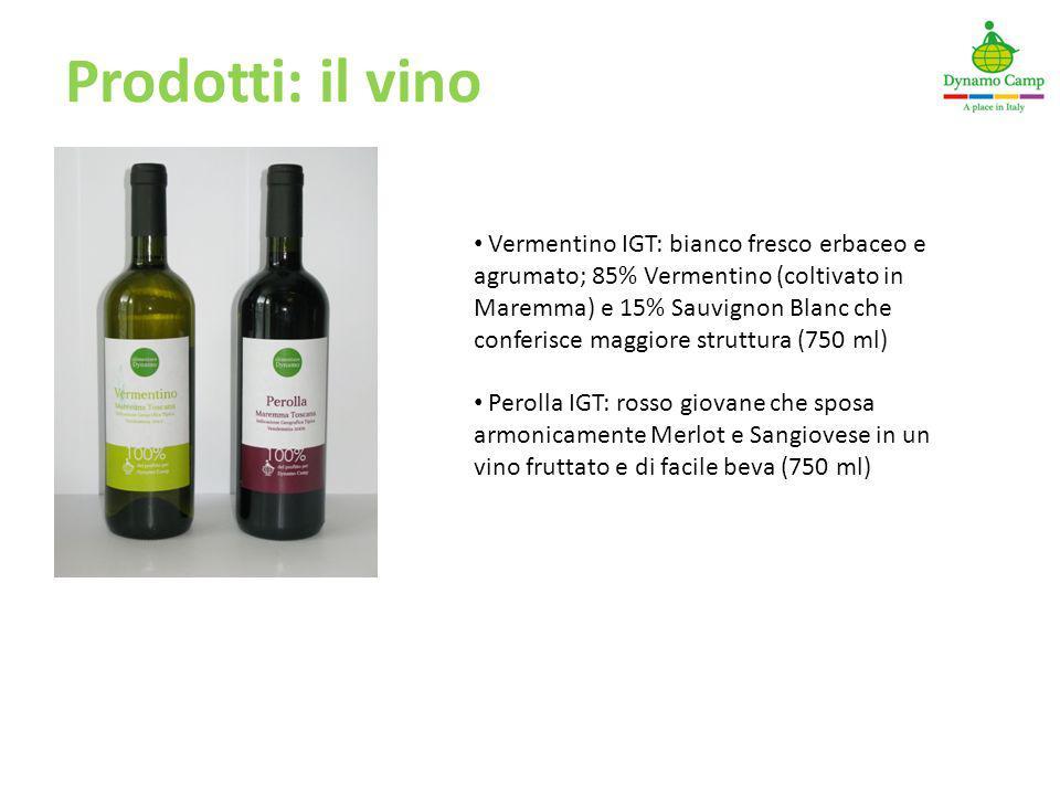 Prodotti: il vino Vermentino IGT: bianco fresco erbaceo e agrumato; 85% Vermentino (coltivato in Maremma) e 15% Sauvignon Blanc che conferisce maggior
