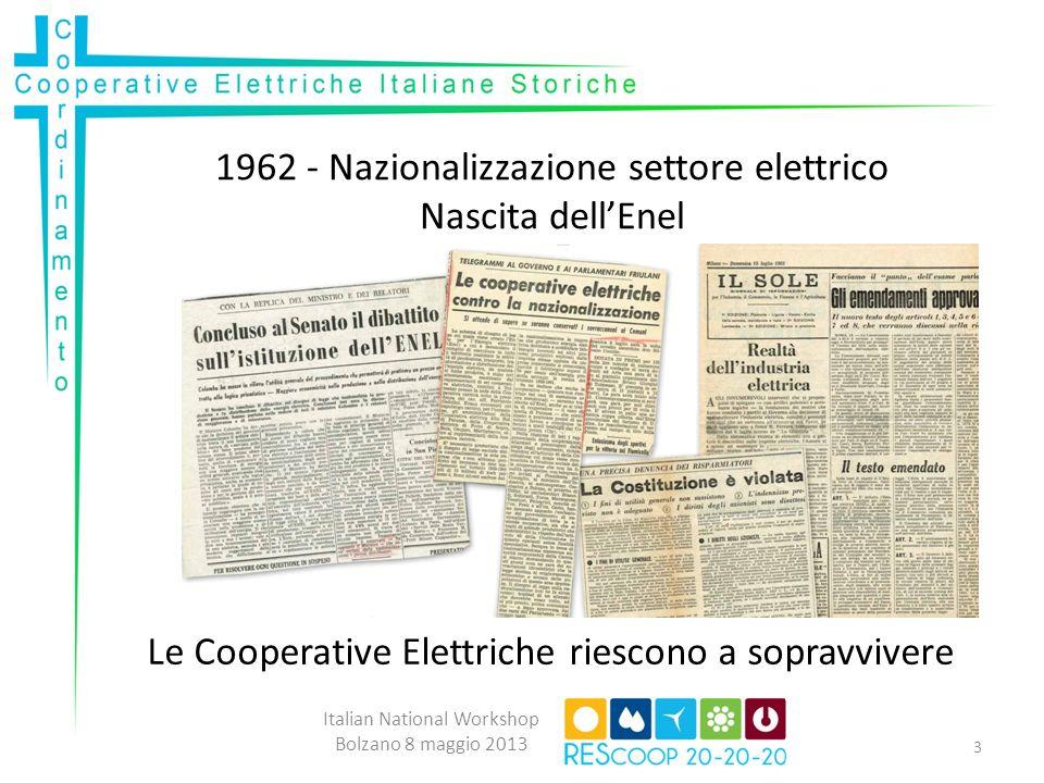 1962 - Nazionalizzazione settore elettrico Nascita dellEnel Italian National Workshop Bolzano 8 maggio 2013 Le Cooperative Elettriche riescono a sopravvivere 3