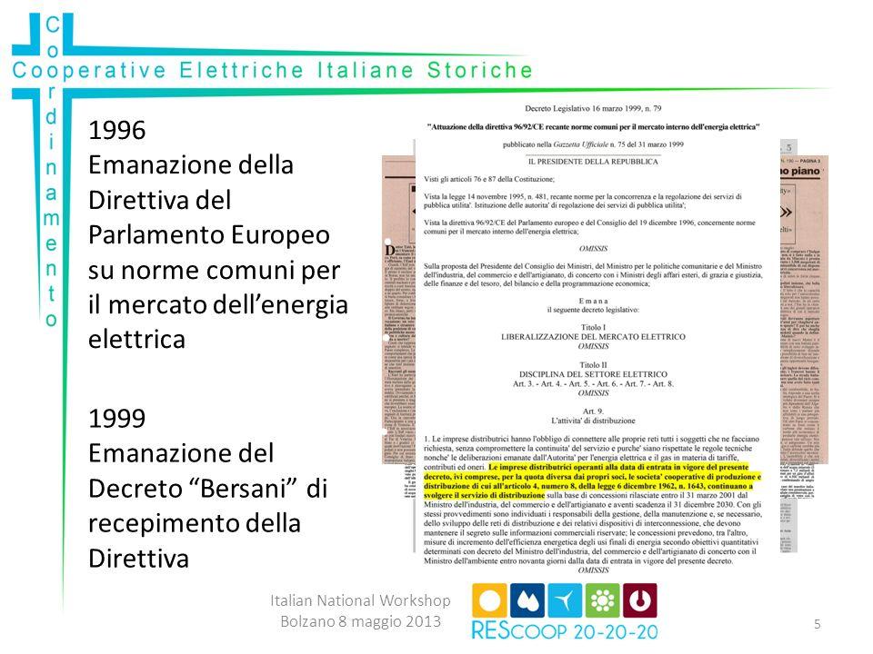 1996 Emanazione della Direttiva del Parlamento Europeo su norme comuni per il mercato dellenergia elettrica 1999 Emanazione del Decreto Bersani di recepimento della Direttiva Italian National Workshop Bolzano 8 maggio 2013 5