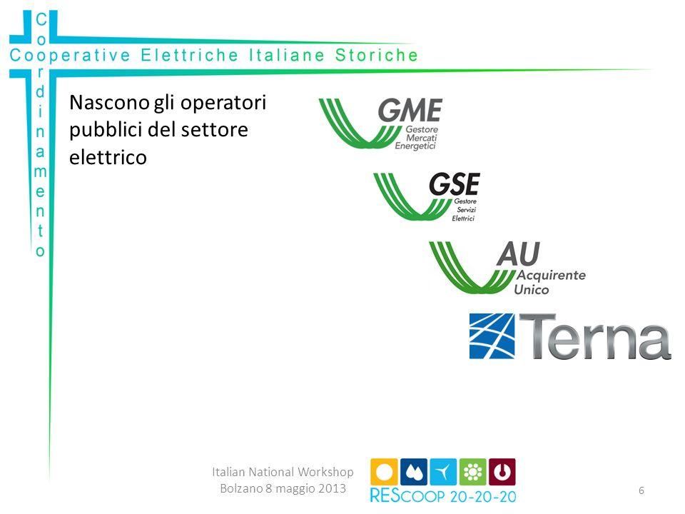 Regolamentazione Cooperative Elettriche: Italian National Workshop Bolzano 8 maggio 2013 7 Storica concessionaria Storica non concessionaria Storica senza rete Nuova Cooperativa