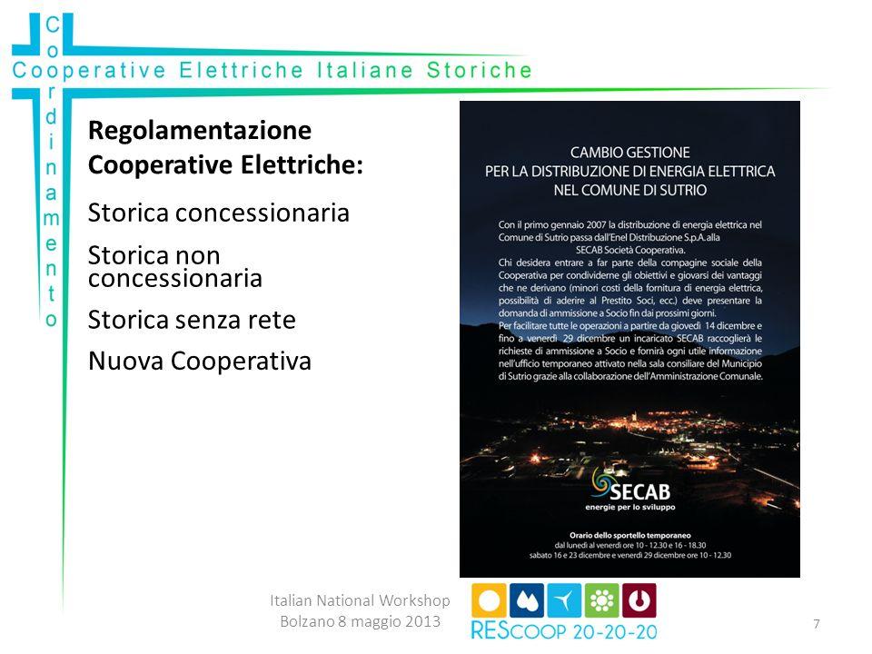Regolamentazione Cooperative Elettriche: Italian National Workshop Bolzano 8 maggio 2013 7 Storica concessionaria Storica non concessionaria Storica s