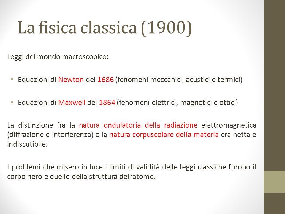 La fisica classica (1900) Leggi del mondo macroscopico: Equazioni di Newton del 1686 (fenomeni meccanici, acustici e termici) Equazioni di Maxwell del