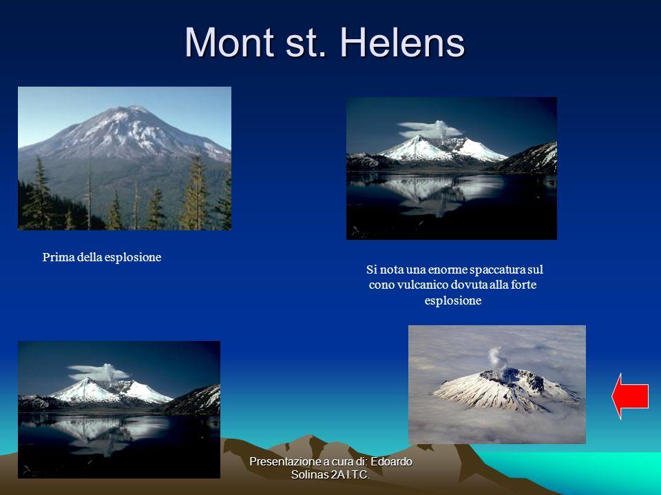 Presentazione a cura di: Edoardo Solinas 2A I.T.C. Mont st. Helens Prima della esplosione. Si nota una enorme spaccatura sul cono vulcanico dovuta all
