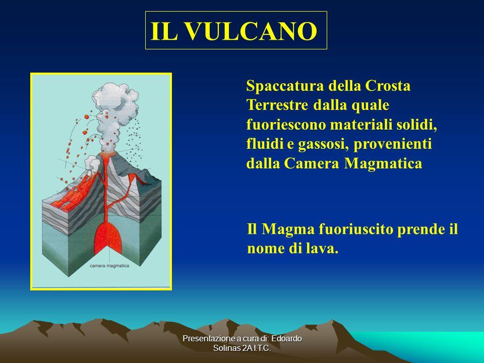 Presentazione a cura di: Edoardo Solinas 2A I.T.C. IL VULCANO Spaccatura della Crosta Terrestre dalla quale fuoriescono materiali solidi, fluidi e gas