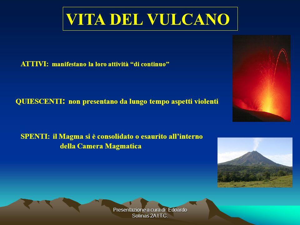 Presentazione a cura di: Edoardo Solinas 2A I.T.C. VITA DEL VULCANO ATTIVI: manifestano la loro attività di continuo QUIESCENTI : non presentano da lu