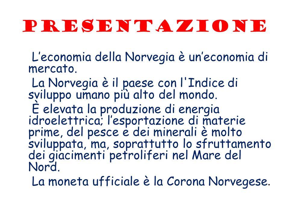 Presentazione Leconomia della Norvegia è uneconomia di mercato. La Norvegia è il paese con l'Indice di sviluppo umano più alto del mondo. È elevata la