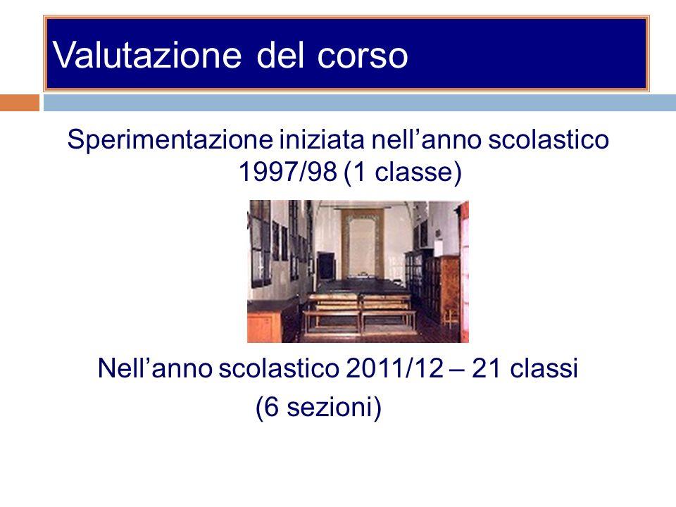 Valutazione del corso Sperimentazione iniziata nellanno scolastico 1997/98 (1 classe) Nellanno scolastico 2011/12 – 21 classi (6 sezioni)