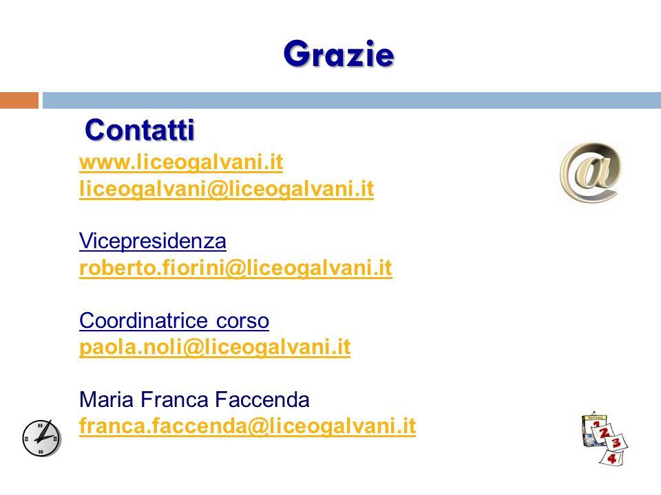 Grazie www.liceogalvani.it liceogalvani@liceogalvani.it Vicepresidenza roberto.fiorini@liceogalvani.it Coordinatrice corso paola.noli@liceogalvani.it