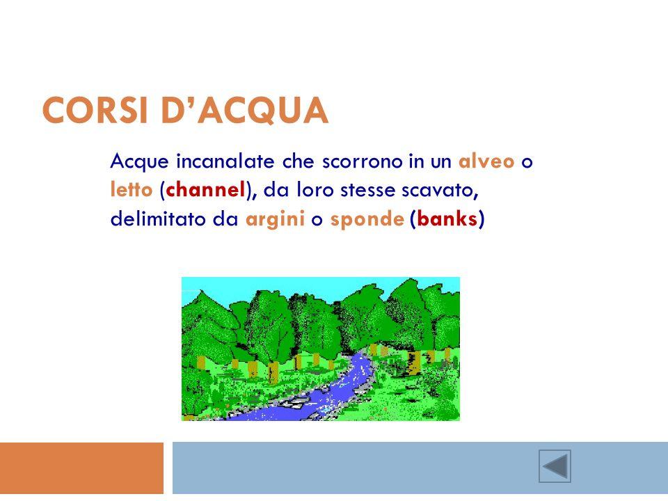 CORSI DACQUA Acque incanalate che scorrono in un alveo o letto (channel), da loro stesse scavato, delimitato da argini o sponde (banks)