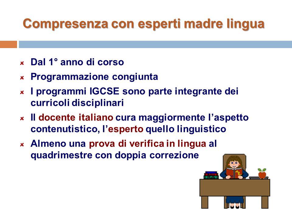Compresenza con esperti madre lingua Dal 1° anno di corso Programmazione congiunta I programmi IGCSE sono parte integrante dei curricoli disciplinari