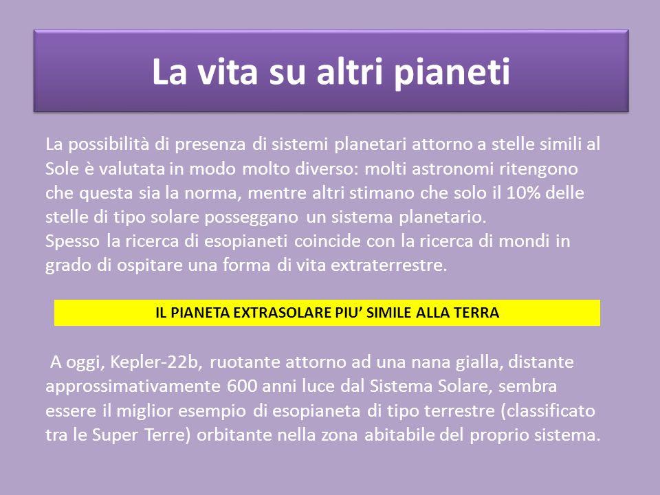 La vita su altri pianeti La possibilità di presenza di sistemi planetari attorno a stelle simili al Sole è valutata in modo molto diverso: molti astro