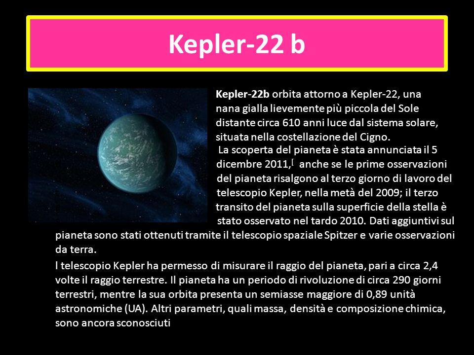 Kepler-22 b Kepler-22b orbita attorno a Kepler-22, una nana gialla lievemente più piccola del Sole distante circa 610 anni luce dal sistema solare, si