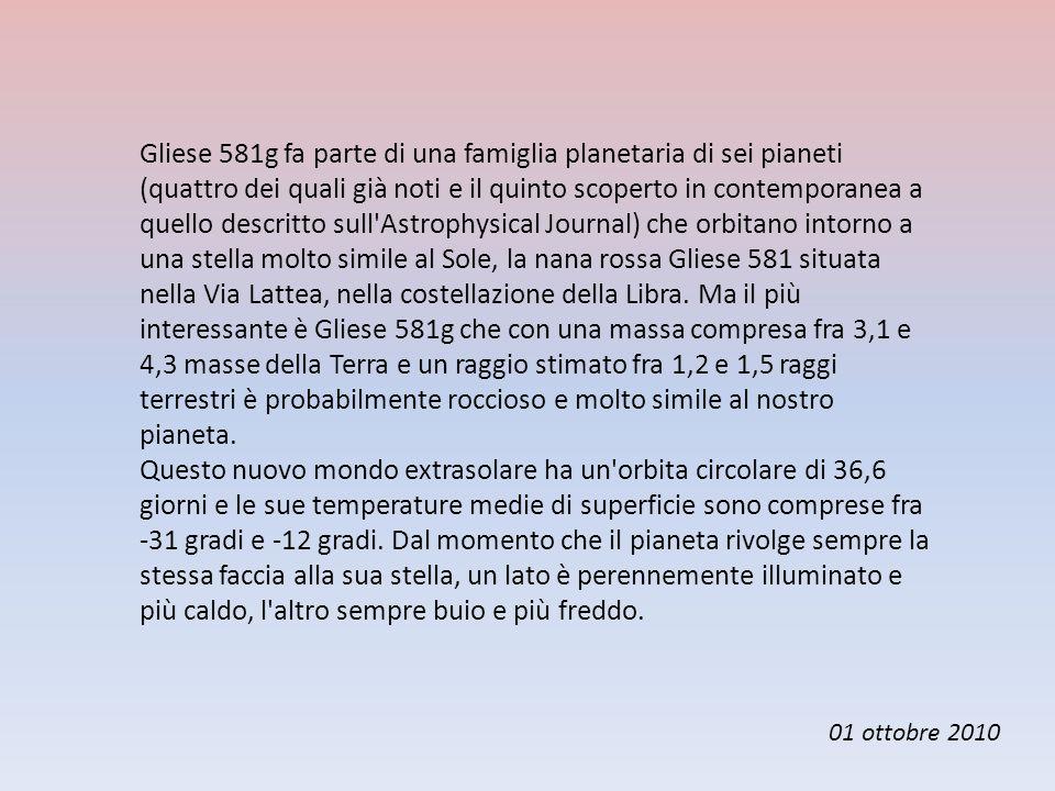 Gliese 581g fa parte di una famiglia planetaria di sei pianeti (quattro dei quali già noti e il quinto scoperto in contemporanea a quello descritto su