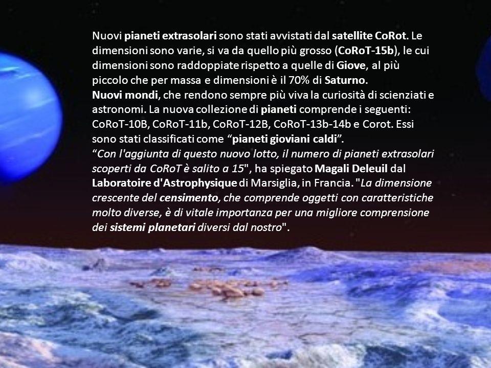 Nuovi pianeti extrasolari sono stati avvistati dal satellite CoRot. Le dimensioni sono varie, si va da quello più grosso (CoRoT-15b), le cui dimension