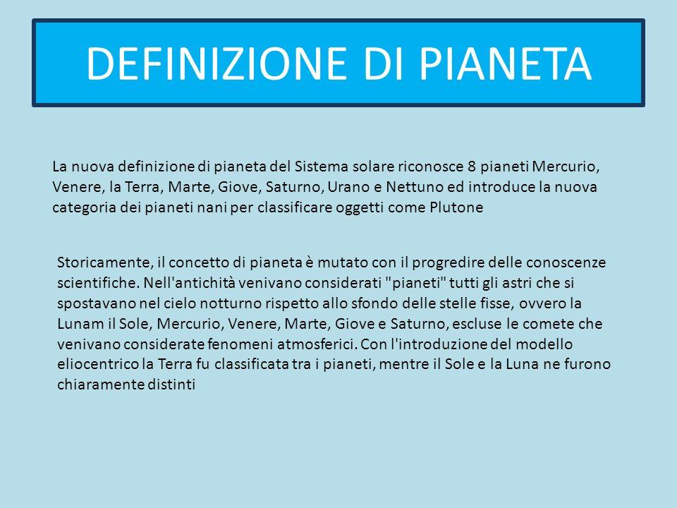 DEFINIZIONE DI PIANETA La nuova definizione di pianeta del Sistema solare riconosce 8 pianeti Mercurio, Venere, la Terra, Marte, Giove, Saturno, Urano