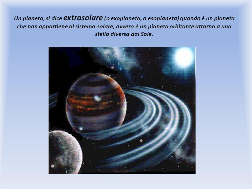 Un pianeta, si dice extrasolare (o exopianeta, o esopianeta) quando è un pianeta che non appartiene al sistema solare, ovvero è un pianeta orbitante a