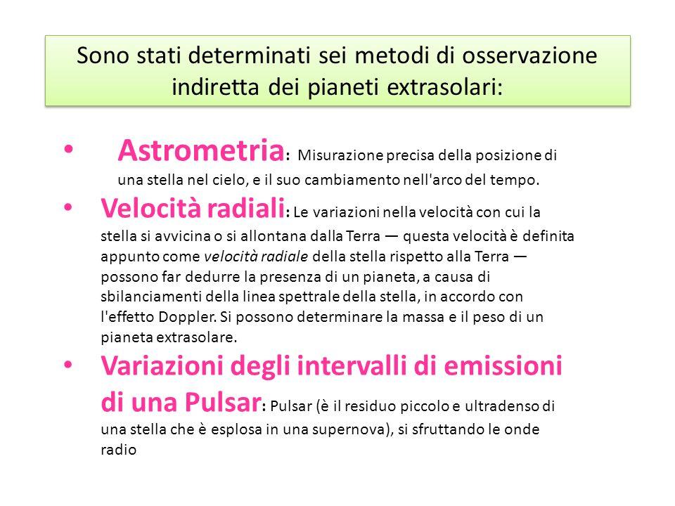 Sono stati determinati sei metodi di osservazione indiretta dei pianeti extrasolari: Astrometria : Misurazione precisa della posizione di una stella n