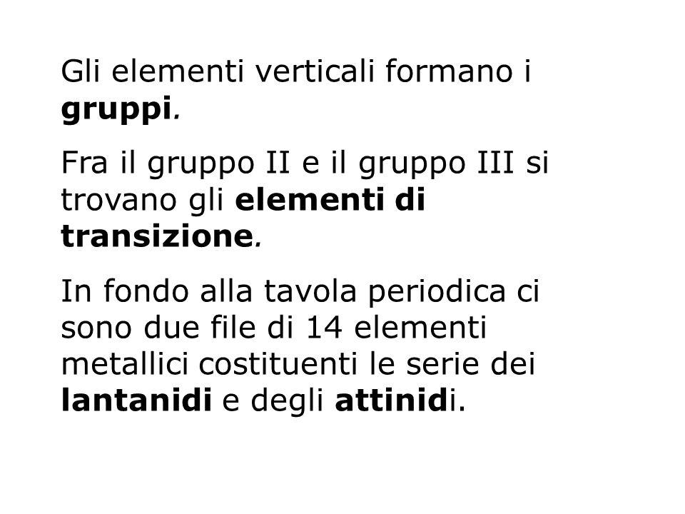 Gli elementi verticali formano i gruppi. Fra il gruppo II e il gruppo III si trovano gli elementi di transizione. In fondo alla tavola periodica ci so