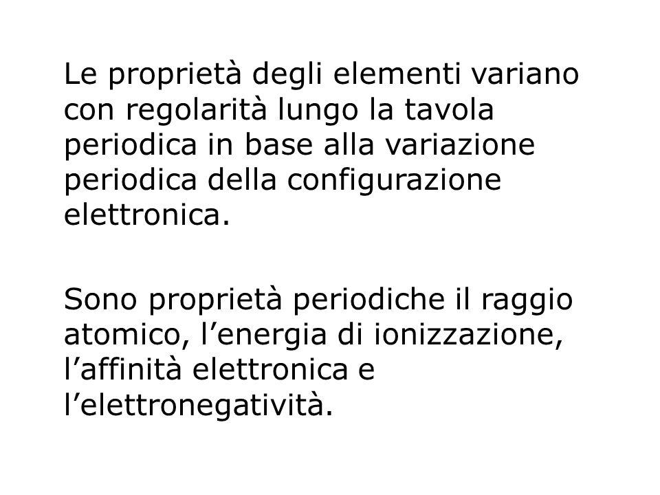 Le proprietà degli elementi variano con regolarità lungo la tavola periodica in base alla variazione periodica della configurazione elettronica. Sono