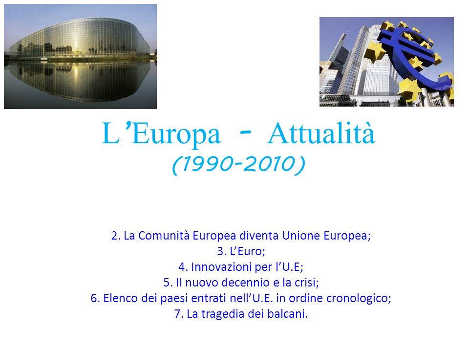 L Europa - Attualità (1990-2010) 2. La Comunità Europea diventa Unione Europea; 3. LEuro; 4. Innovazioni per lU.E; 5. Il nuovo decennio e la crisi; 6.