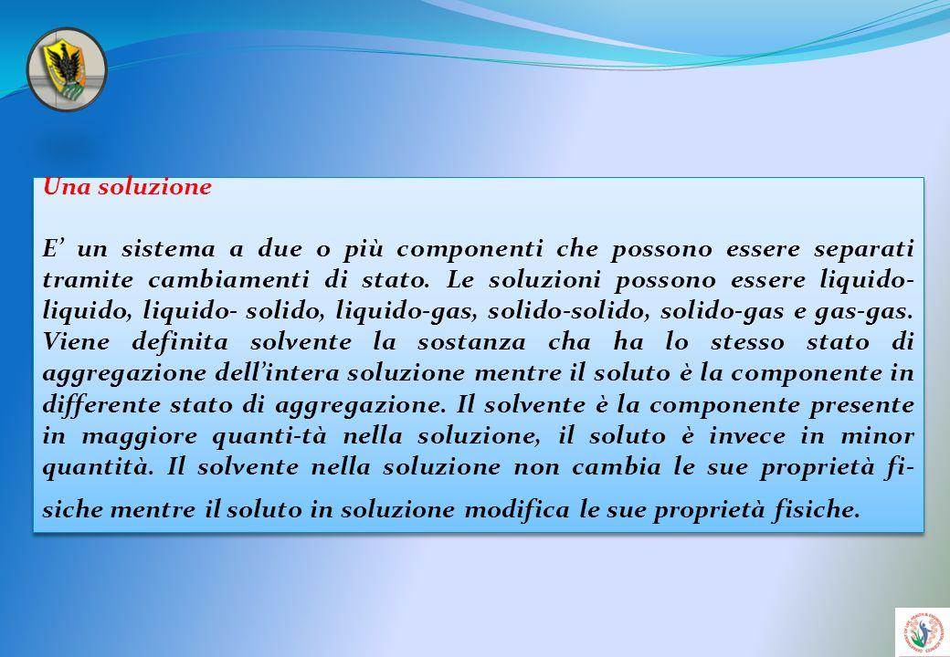 Per solubilità si intende la quantità massima di soluto (in grammi o in moli) che in una soluzione riesce a sciogliersi nellunità di solvente.