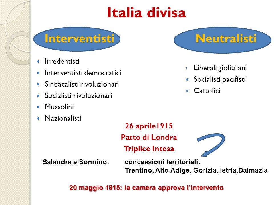 Italia divisa InterventistiNeutralisti Irredentisti Interventisti democratici Sindacalisti rivoluzionari Socialisti rivoluzionari Mussolini Nazionalis