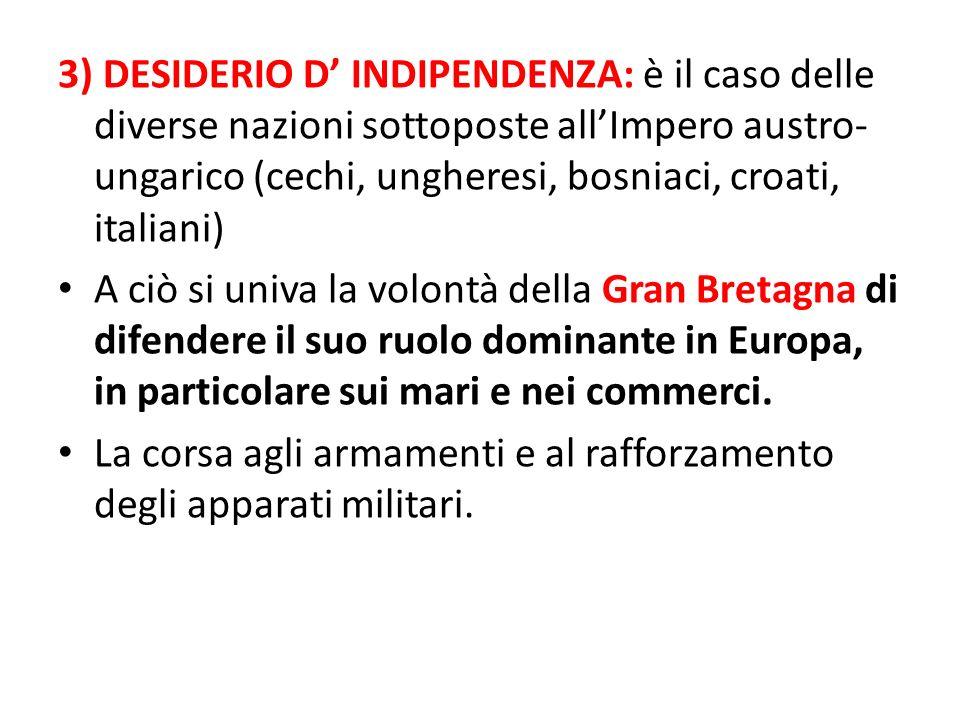 3) DESIDERIO D INDIPENDENZA: è il caso delle diverse nazioni sottoposte allImpero austro- ungarico (cechi, ungheresi, bosniaci, croati, italiani) A ci