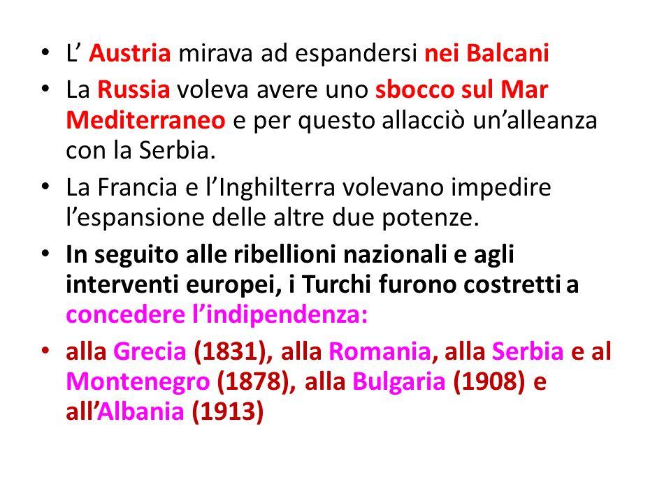 L Austria mirava ad espandersi nei Balcani La Russia voleva avere uno sbocco sul Mar Mediterraneo e per questo allacciò unalleanza con la Serbia. La F