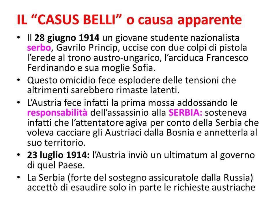 IL CASUS BELLI o causa apparente Il 28 giugno 1914 un giovane studente nazionalista serbo, Gavrilo Princip, uccise con due colpi di pistola lerede al