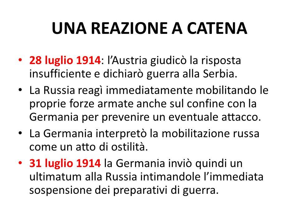 UNA REAZIONE A CATENA 28 luglio 1914: lAustria giudicò la risposta insufficiente e dichiarò guerra alla Serbia. La Russia reagì immediatamente mobilit