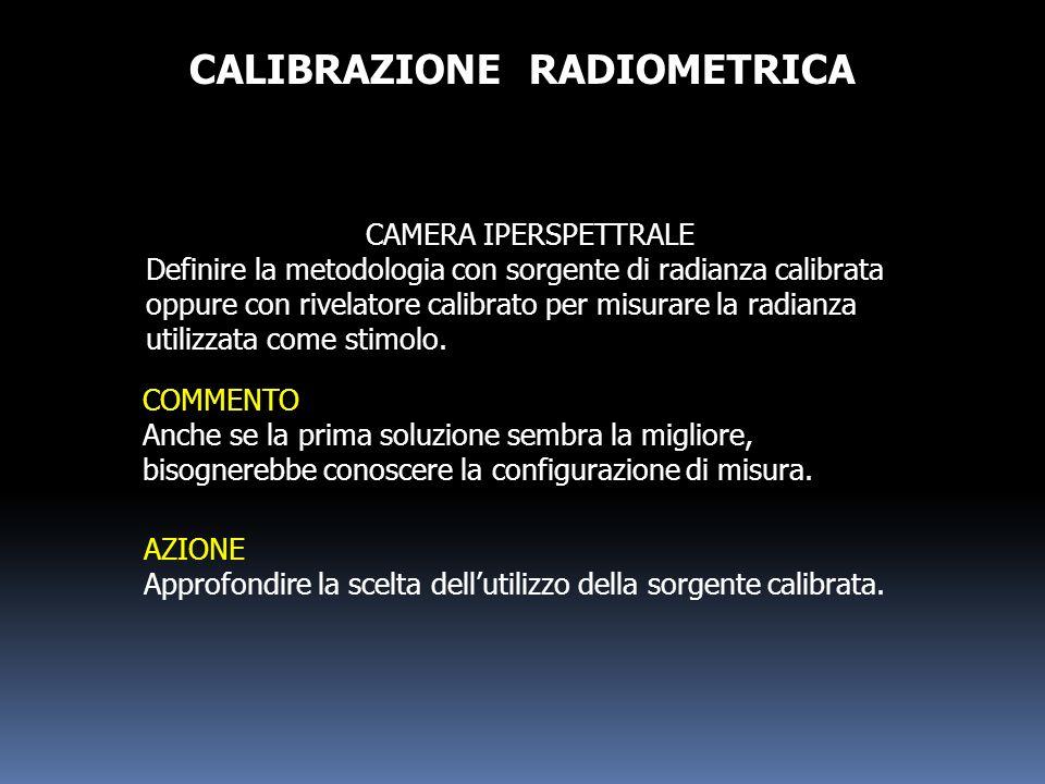 CALIBRAZIONE RADIOMETRICA CAMERA IPERSPETTRALE Definire la metodologia con sorgente di radianza calibrata oppure con rivelatore calibrato per misurare