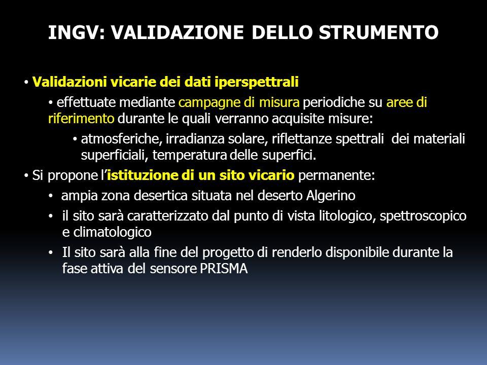 INGV: VALIDAZIONE DELLO STRUMENTO Validazioni vicarie dei dati iperspettrali effettuate mediante campagne di misura periodiche su aree di riferimento